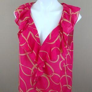 Loft Cotton/Silk Blend Sheer Blouse Dark Pink SzXL